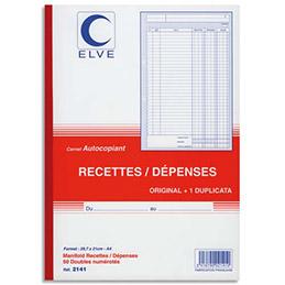 Manifold autocopiant recettes/dépenses Lebon & vernay - format 21x29,7 cm - 50 feuillets dupli (photo)