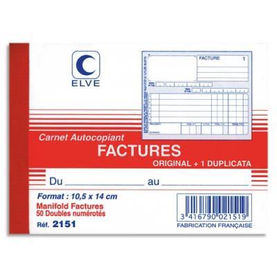 Manifold autocopiant facture Lebon & Vernay - format 10,5x14 cm - 50 feuillets dupli