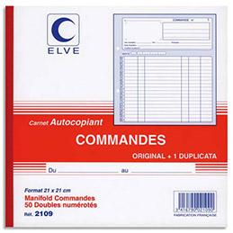 Manifold autocopiant commande Lebon & Vernay - format 21x21 cm - 50 feuillets dupli