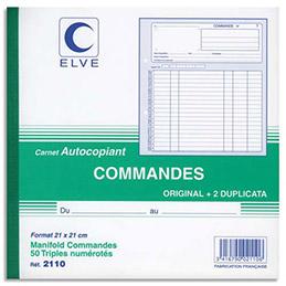 Manifold autocopiant commande Lebon & Vernay - format 21x21 cm - 50 feuillets tripli
