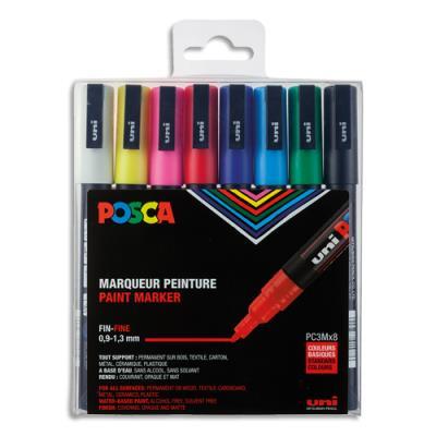 Pochette de 8 marqueurs peinture à l'eau Posca PC-3M - pointe conique polyester fine 1,5 mm - coloris assortis
