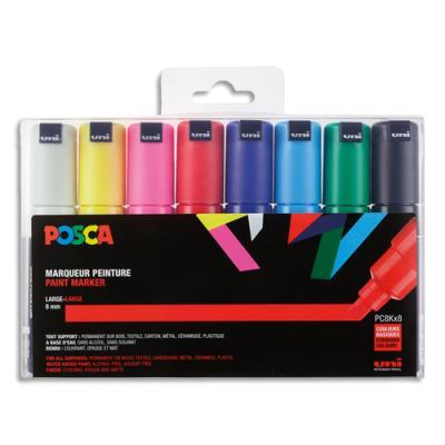 Boîte de 8 marqueurs peinture à l'eau Posca PC-8K - pointe biseautée acrylique large 8 mm - coloris assortis (photo)