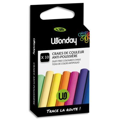 Craies anti-poussière - coloris assortis - boite de 10 (photo)