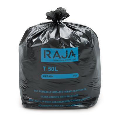 Sac poubelle Raja pour déchets courants - en plastique recyclé - 50 litres - 35 microns - carton de 200