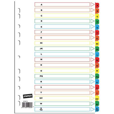 Intercalaires alphabétiques A4 en bristol - 20 divisions - blanc touches colorées - jeu 20 feuilles
