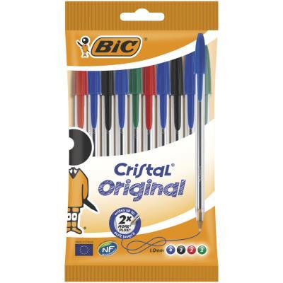 Pochette de 10 stylos à bille Bic - pointe moyenne - 4 couleurs d'encre - corps plastique transparent cristal