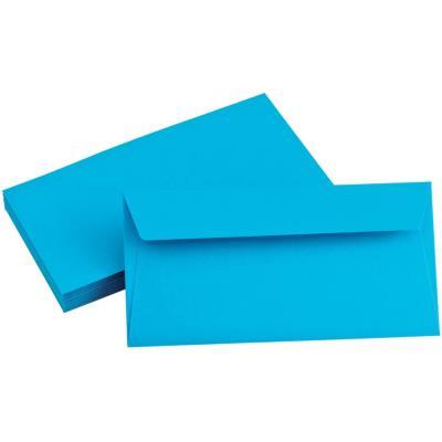 Enveloppe Pollen de Clairefontaine - format DL 110 x 220 mm - bleu turquoise - référence  5555 - paquet de 20