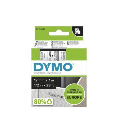 Ruban Dymo D1 - 45010 - Ruban noir/transparent - 12 mm x 7 m