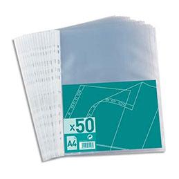 Pochettes perforées - polypropylène 6/100e - A4 - perforation 11 trous - sachet de 50 (photo)