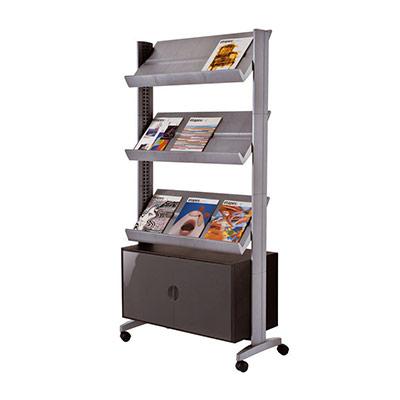 Présentoir mobile de stockage easyDisplays PaperFlow - 9 - coloris aluminium