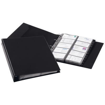 Porte-cartes Durable Visifix Economy - 400 compartiments - 12 parties - pré-imprimé : A-Z - avec index alphabétique - noir