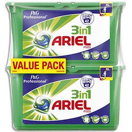 Lessive liquide concentrée 3 en 1 Ariel Pods - parfum regulier - lot de 2 boîtes (42 doses) (photo)