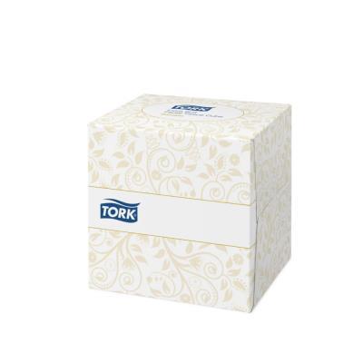 Mouchoirs Tork - 2 plis - ouate extra douce blanche - boîte cube de 100 (photo)