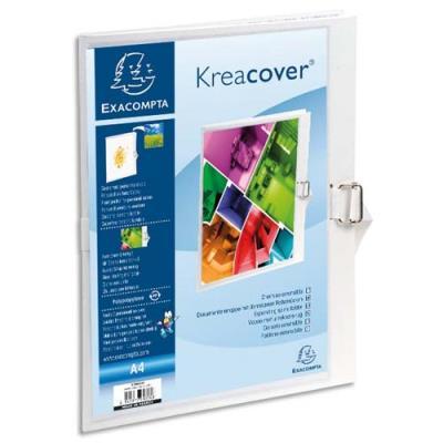 Chemise à dos extensible personnalisable Exacompta Krea Cover - en balacron - dos 13 cm - coloris blanc