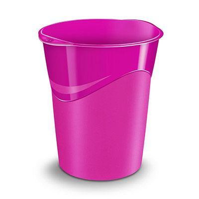 Corbeille à papier Cep Gloss 280 G - 14 litres - 305 x 290 x 334 mm - polypropylène - rose (photo)