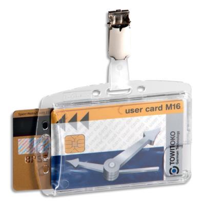 Badge rigide pour 2 cartes de sécurité - avec clip - format 5,4 x 8,4 cm - boîte de 25 (photo)