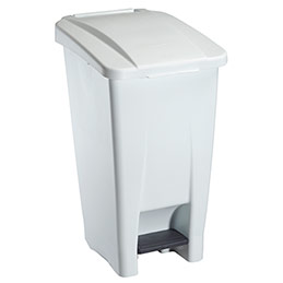 Poubelle mobile standard à pédale - plastique blanc - 60 L (photo)