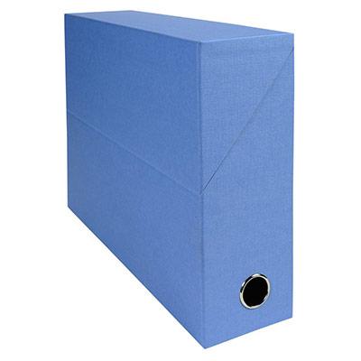 Boîte de classement en toile cartonnée Exacompta - pour 800 feuilles A4 maximum - 240 x 320 mm - largeur de dos 90 mm - bleu clair
