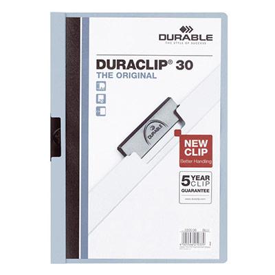 Chemise de présentation à clip Duraclip A4 - capacité 30 feuilles - coloris bleu clair (photo)