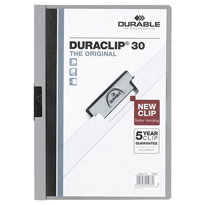 Chemise à pince Durable Duraclip A4 capacité 30 feuillesPVC gris (photo)