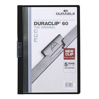 Chemise de présentation à clip Duraclip A4 - capacité 30 feuilles - coloris noir (photo)