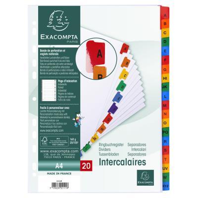 Intercalaire alphabétique Exacompta - carte blanche 170g - A4 (photo)