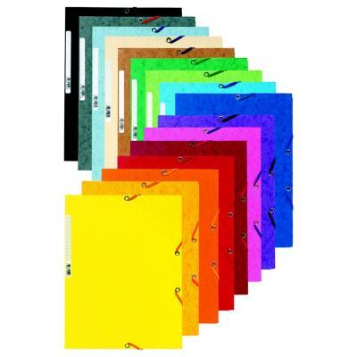 Chemise Exacompta 3 rabats et élastique - carte lustrée 5/10e - 400 g - format 24 x 32cm - coloris assortis