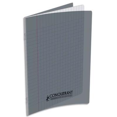Cahier piqûre Conquérant classique - couverture polypropylène - 17 x 22 - 48 pages - grands carreaux - gris