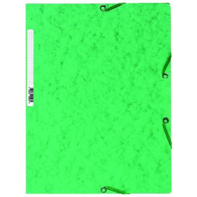 Chemise Exacompta 3 rabats/ élastique - carte lustrée 5/10e - 400gr - Format 24x32cm - Coloris vert.