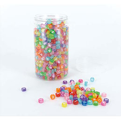 Bocal de 1200 perles alphabet transparentes couleurs assorties - diamètre 7 mm (photo)