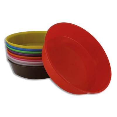 Lot de 10 assiettes peintures - diamètre 13 cm - coloris assortis