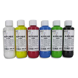 Coffret de 6 x 250ml acrylique brillante Art Plus - blanc, jaune, rouge, bleu, vert, noir (photo)