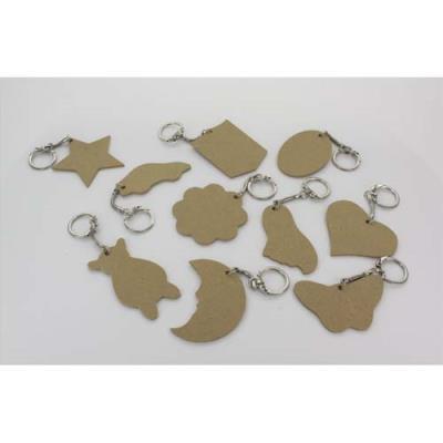Assortiment de 10 porte-clés en bois : coeur, étoile, lune, rond