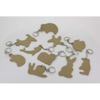 Lot de 10 porte-clés en bois médium - thème animaux assortis