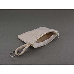 Porte monnaie avec anneau - coton blanc à décorer - 10,5 x 8 cm - lot de 6 (photo)