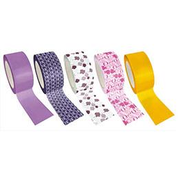 Rouleaux Queen Tapes - 8 m x 48 mm - motifs assortis, rose, violet, blanc, jaune - lot de 5 (photo)