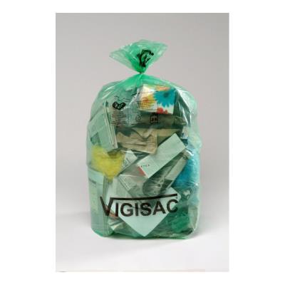 Sacs poubelle vert transparents Vigisac - 110 litres - 38 microns - boite de 250 sacs