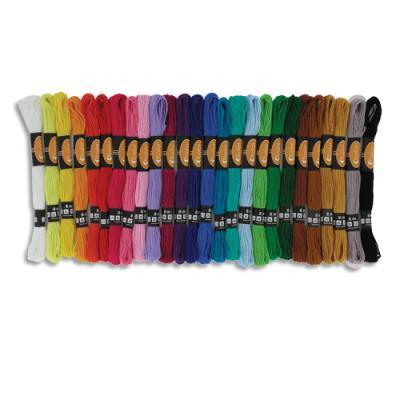 52 échevettes 7m à 6 brins en coton pour faire des bracelets brésiliens - 26 coloris assortis (photo)