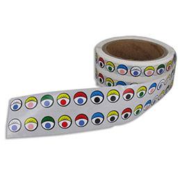 Gommettes yeux couleurs assorties - diamètre 14 mm - rouleau de 2000 gommettes (photo)