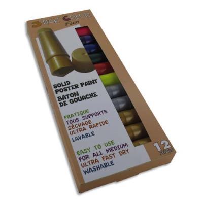 Sticks de gouache 10 g - couleurs fluo et métal assorties - boîte de 12 sticks
