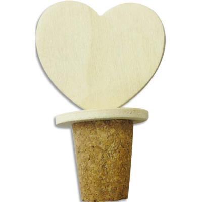 Bouchon à décorer - cœur en bois - 5 x 3 x 8 cm (photo)