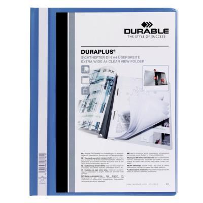 Chemise de présentation à lamelles personnalisable Durable Duraplus - 24 x 31 cm - bleu