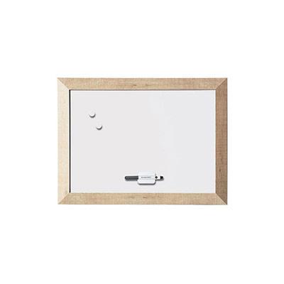 Tableau blanc acier laqué magnétique - cadre bois chêne naturel - L60 x H45 cm