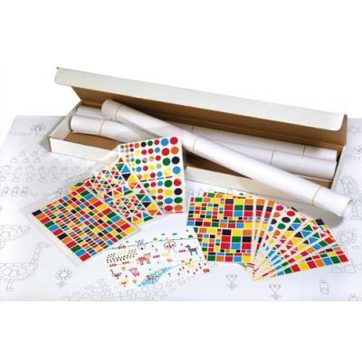 Kit 4 affiches 70 x 100 cm - impression noire - 48 feuilles de gommettes 4 modèles - coloris assortis (photo)