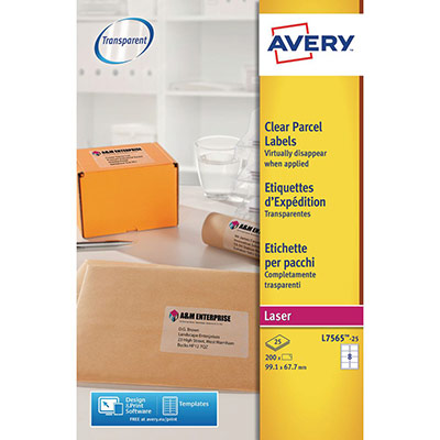 Etiquettes invisibles Avery - impression laser - 99,1 x 67,7 mm - pochette de 200 (photo)