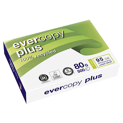 Papier recyclé Evercopy + - blanc - 80 g - A4 - ramette de 500 feuilles