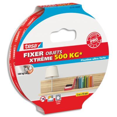Adhésif double face Tesa - ultra fort - pour fixer en intérieur et extérieur jusqu'à 500kg - 5 m x 19 mm (photo)