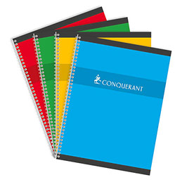 Cahier Conquérant 7 - 17 x 22 cm - reliure spirales - grands carreaux - 100 pages - 70 g