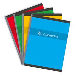 Cahier Conquérant 7 - 17 x 22cm - reliure brochée - petits carreaux - 192 pages - 70 g