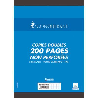 Copies doubles Conquérant 7 - non perforées - blanches - 21x29.7cm - 200 pages - petits carreaux - 70g - Sous étuis (photo)